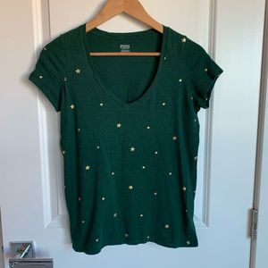 VS PINK Tee V-Neck Green Gold Stars
